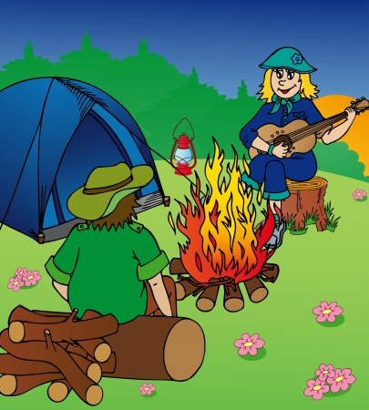 Evening camping by campfire - vector illustration