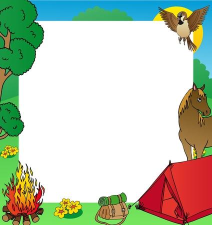 animal shelter: Summer camping frame - vector illustration