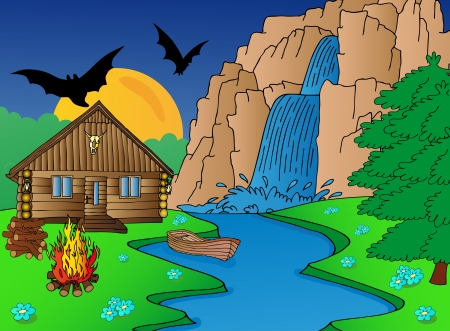 flowing river: Cabin and falls - vector illustration