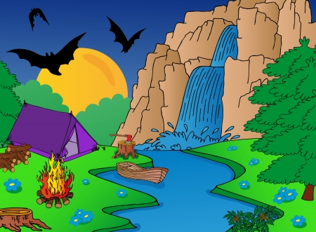 creek: Camping and falls - vector illustration