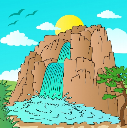 Hill with waterfalls landscape - vector illustration