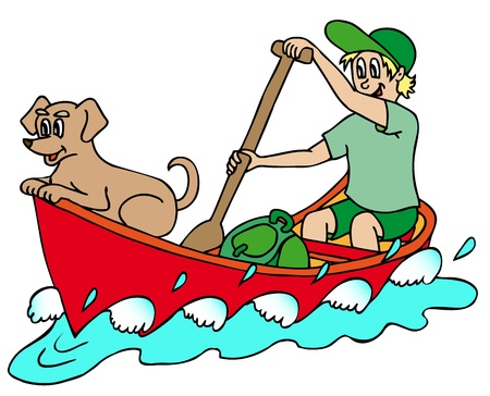Sailor on river - vector illustration