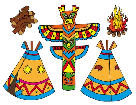 Indians tepees collection Vector