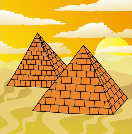 cartoon egyptian: Scenery with pyramids