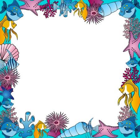 star fish: Sealife frame blue Illustration