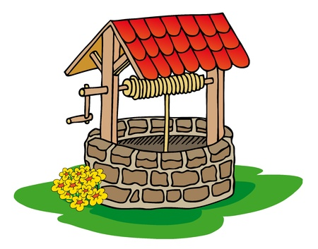 water well: Well with flowers Illustration