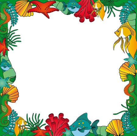 Sealife frame green Vector