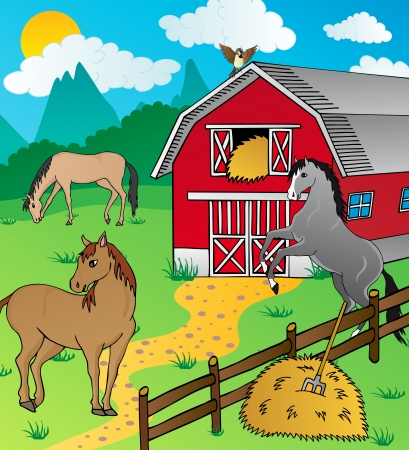 hay: Barn and horses - vector illustration.