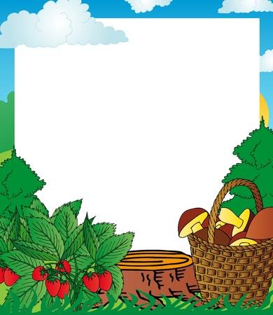 Frame wood fruits - vector illustration. Illustration