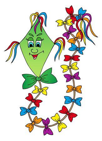 paper kite: Green kite isolated - vector illustration.