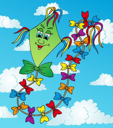 Green kite on sky - vector illustration.