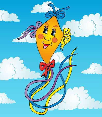 Orange kite on sky - vector illustration.