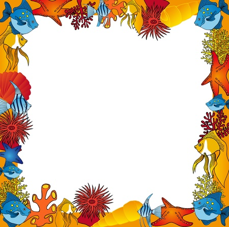 Sealife frame orange - vector illustration. Stock Vector - 15991085