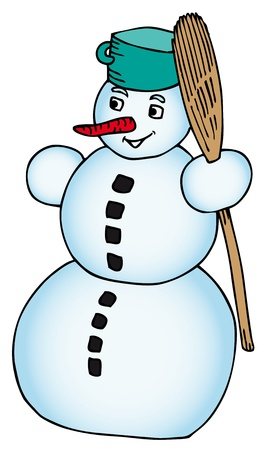 Snowman with broomstick - vector illustration.