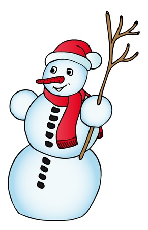 Snowman with Xmas cap - vector illustration. Stock Vector - 15990939