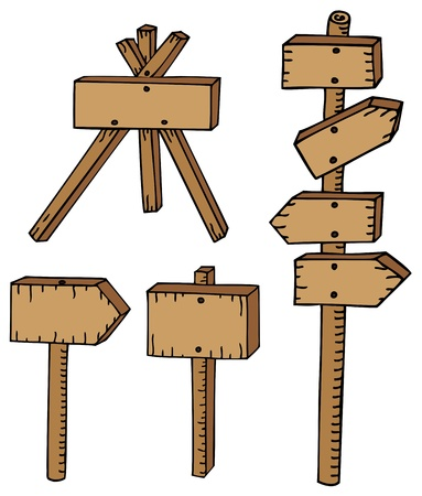 Various wooden signs - vector illustration. Illustration