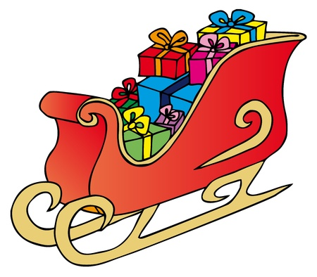 Xmas sled on white background - vector illustration. Illustration