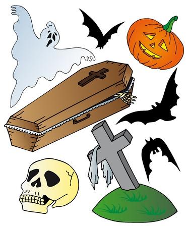 trumna: Kolekcja motyw Halloween - ilustracji wektorowych.