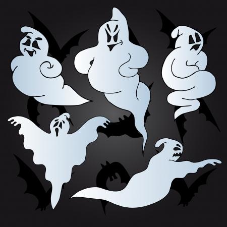 Halloween ghosts collection - vector illustration. Illustration