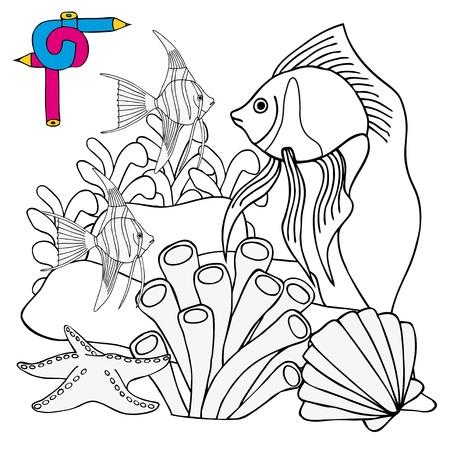 Coloring image sealife - vector illustration.  イラスト・ベクター素材
