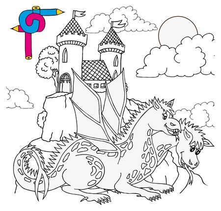 wyvern: Coloring image castle - vector illustration.