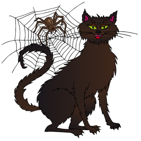 Cat and spider - vector illustration. Illustration