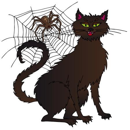 Cat and spider - vector illustration. Illustration