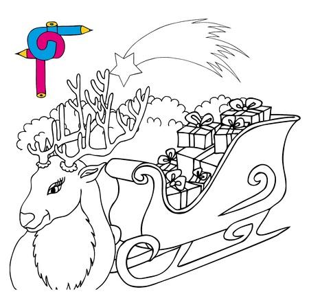 Coloring image reindeer - vector illustration.