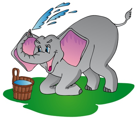 Elephant make shower - vector illustration. Illustration