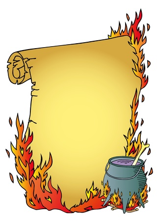 cauldron: Parchment and witch boiler - vector illustration.