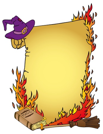 Parchment and witchs things - vector illustration. Illustration