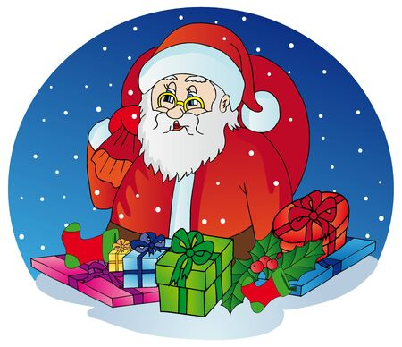 Santa Claus with gifts - vector illustration  Illustration