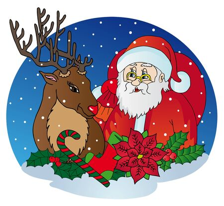 Santa Claus and reindeer - vector illustration
