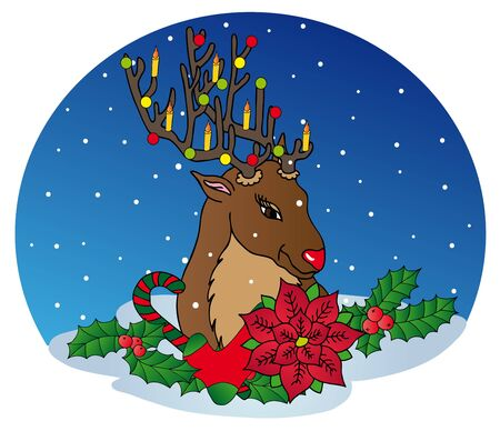 Reindeer with Xmas decoration - vector illustration