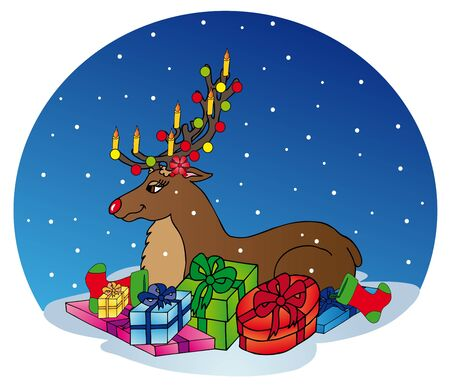Reindeer with gifts - vector illustration