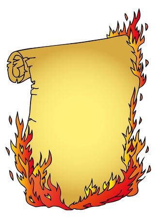 Parchment with fire - vector illustration  Illustration