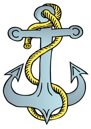 Anchor with rope - vector illustration.