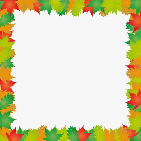 Autumn leaves frame - vector illustration. Illustration