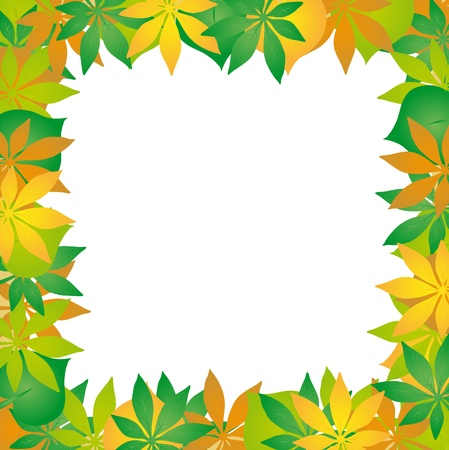 Autumn leaves frame 02 - vector illustration. Stock Vector - 16439885