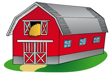barnyard: Barn on white background - vector illustration. Illustration