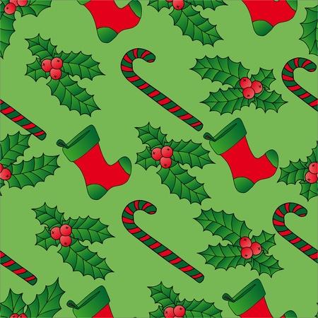 Seamless background Xmas mistletoe - vector illustration. Illustration