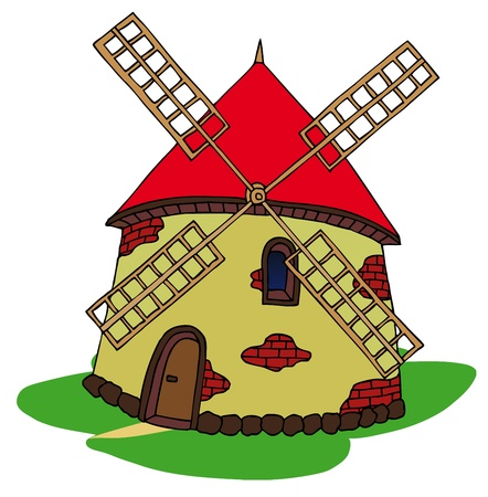 Windmill on white background - vector illustration. Illustration