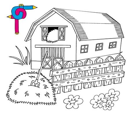 hayfield: Coloring image barn - vector illustration. Illustration
