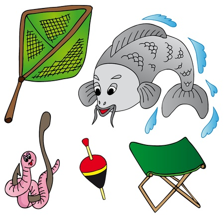 jumping carp: Fishing icon collection - vector illustration.