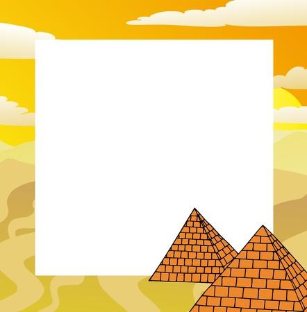 Marco con pirámides - ilustración vectorial. Ilustración de vector