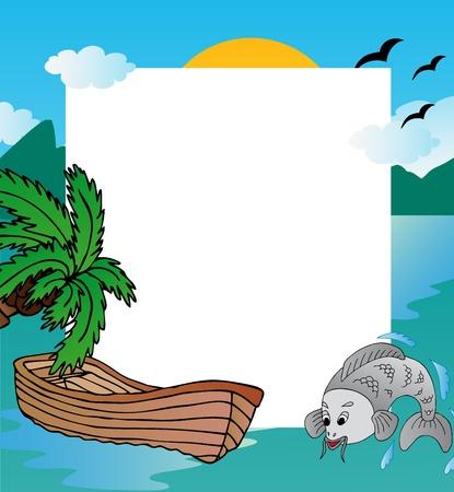 carp fishing: Telaio con nave - illustrazione vettoriale.