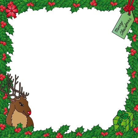 Mistletoe frame with reindeer - vector illustration.