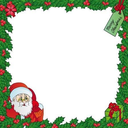 Mistletoe frame with Santa - vector illustration.