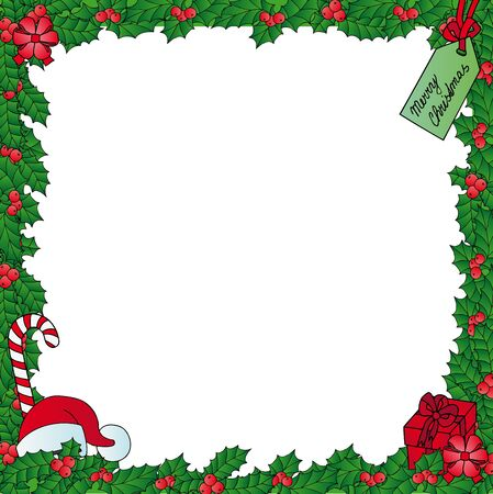 Xmas mistletoe frame - vector illustration.