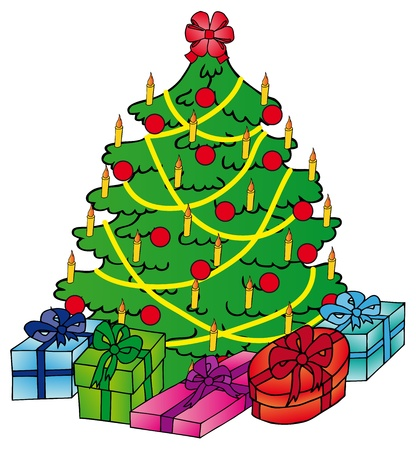 Xmas tree with gifts  Illustration